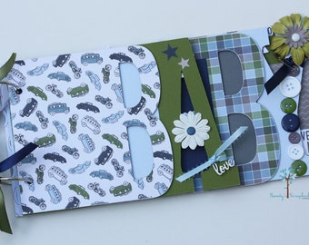 Baby boy scrapbook album, Baby shower gift, Premade scrapbook for baby boy- BB33