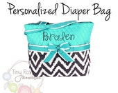 Personalized Diaper Bag -Turquoise, Grey Ikat Monogrammed Baby Tote, Changing Pad, Mommy Bag