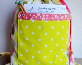 Drawstring Project Bag w/Pocket - Dew Drops Polka Dots & Flowers, chartreuse, green, pink, beige