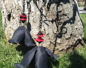 Black rose chain earrings