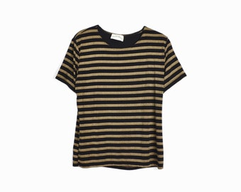 Vintage 90s Black & Tan Striped Spandex Tee - women's medium