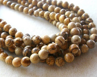 Picture Jasper, Round Beads, Jewelry Making Beads, Jewelry Design, Craft Supply, Bead Supply, Necklace Design, Jasper Beads, Full Strand 8mm