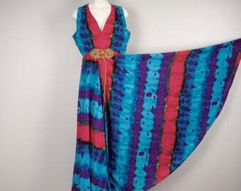 mod psychedelic tie dye 60s 70s palazzo Jumpsuit Studio 54 wide leg multicolor disco pants blue pink purple maxi sleeveless medium large