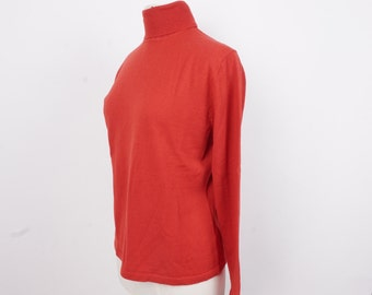 red Ann Taylor turtleneck sweater 90s vintage Merino wool knit pullover large