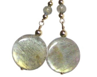 Labradorite and Gold Dangler Earrings