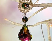 Christmas Ornament, Multi Colored Crystal, Brass Filigree Flower, 1S-24