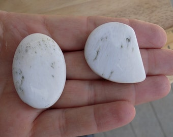 Two Scolecite Cabochons Oval and Freeform 42mm and 40mm