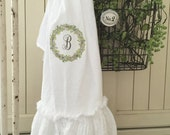 Monogrammed FlourSack | Ruffled Towels | Tea Towel | Farmhouse Towel | Shabbychic Decor | Cottage Home | FlourSack Towel | Ruffled FlourSack