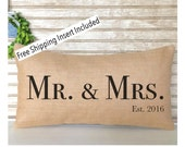 Wedding Gift - Wedding Pillow - Throw Pillows - Wedding Pillow Mr and Mrs with est. year - FREE SHIPPING
