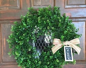 Boxwood Wreath with Striped Ribbon, added chalkboard wooden hangtag | Farmhouse Decor | Boxwood |