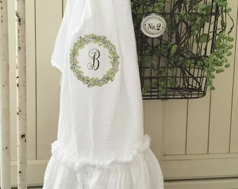Monogrammed FlourSack | Ruffled Towels | Tea Towel | Farmhouse Towel | Shabbychic Decor | Cottage Home | FlourSack Towel | Ruffled FlourSack