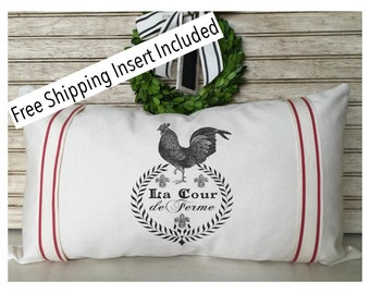French Rooster Pillow | Farmhouse Decor| Rustic Grain Sack Pillow | Welcome - Throw Pillow