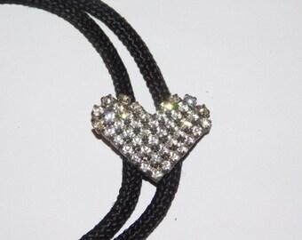 Vintage Rhinestone heart shaped Bolo Tie