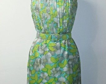 SUMMER HEAT SALE Vintage 1950s Wiggle Dress - Blue and Green Floral Print
