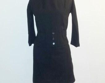 AUTUMN ARRIVAL 25% OFF Vintage 1940s Dress - 40s Wool Dress - Midnight Black