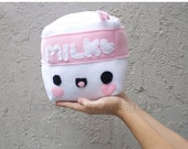 ON SALE - Cubed Milk Plush - Kawaii Plushie , Cute Stuffed Animal, Softie, Children's Toy, Decorative Pillow, Christmas Plush, His and Hers
