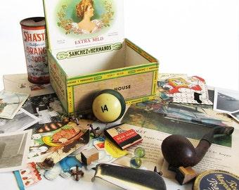 Vintage Cigar Box Full of 1950s Treasures - 1950s Memory Box