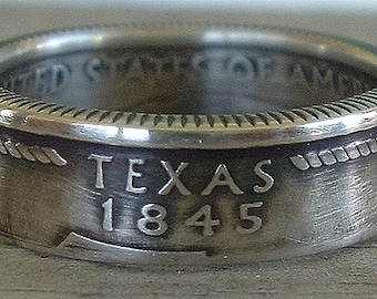 2004 Silver Texas State Quarter Coin Ring (Available in Size 5 through 9) (90% Silver)