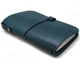LEATHER COVER for Midori - Field notes -  Moleskine Cahiers - Journal in Dark Ocean BLUE