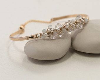 Crystal and Pearl Gemstone Bangle