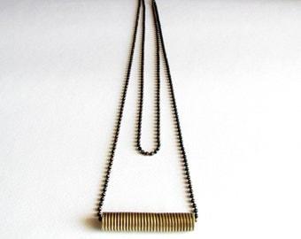 Minimalist Statement Pendant -Brass Modern Pendant-Wrap Wire Necklace-Oxidized-Long Minimalist Necklace-Handcrafted Minimalist Jewellery