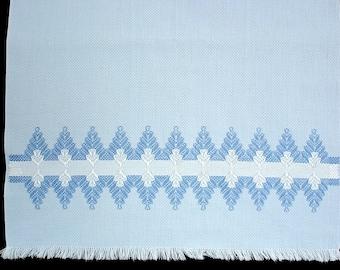 Vintage Powder Blue Huck Weave Tea Towel