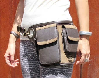 Leather Utility Belt Leather Belt Bag Hip Belt Travel Festival Belt with Pockets Cross Body Bag HB35c * Free Shipping*