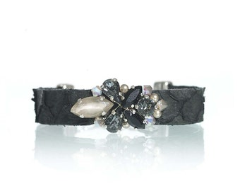 Fish leather bracelet / fish leather jewelry / black rhinestone bracelet / black crystal bracelet / Swarovski crystal embellished bracelet