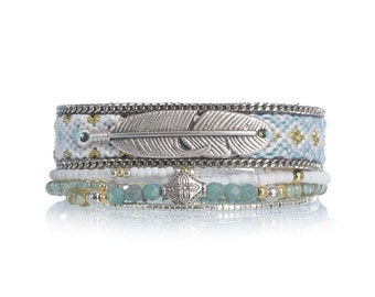 Beaded multistrand bracelet - mint green bracelet - feather bracelet - bohemian bracelet - boho jewelry with handwoven friendship bracelet