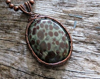 Copper Wire Wrapped Pendant - Bloodstone Necklace - Bohemian Wire Necklace