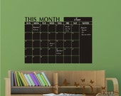 Monthly Planner Chalkboard Calendar with Notes - Blackboard Calendar Vinyl Wall Decal