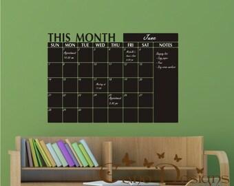 Monthly Planner Chalkboard Calendar with Notes - Blackboard Calendar Vinyl Wall Decal