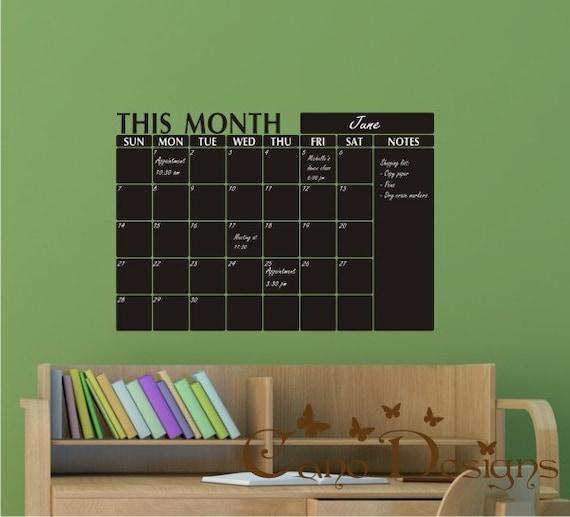 Chalkboard Calendar Organizer : Monthly planner chalkboard calendar with notes blackboard