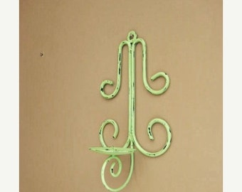 Happy 4th with 40% Off Rustic Metal Wall Sconce in Green Apple / Shabby Garden Candle Sconce / Cottage Chic Candle Holder