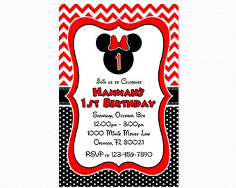 Minnie Mouse Birthday Party Invitation, Chevron Minnie Mouse Invitation, Red, Black, White, Printable or Printed
