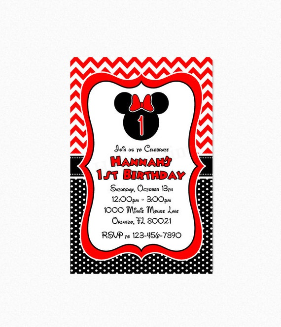 Minnie Mouse Birthday Party Invitation Chevron Minnie Mouse