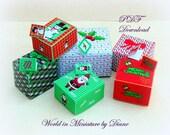 Dollhouse Christmas Gift Box, Dollhouse Digital Download 1:12 Christmas Gift Box Kit, PDF,