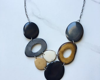 Black and White Necklace. Tagua nut jewelry. Classic Necklace. Black White Tan Necklace. Timeless Necklace. Sela Designs. Ethical Jewelry