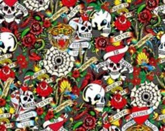 Ed Hardy Love Is True Dark Gray Packed Skulls and Heart Fabric - 1 yard