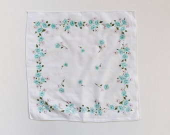 Vintage White and Blue Floral Handkerchief- 1950s