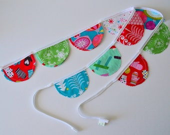 Christmas Fabric Garland, Xmas Bunting Banner, Holiday Decor, Xmas Decor, Christmas Decor, Bunting Flags, Handmade Bunting, Wall Hangings