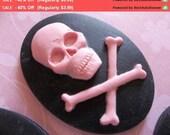 40% Off SALE Cabochons Pink Skull & Cross Bones on Black - 40mm X 30mm Resin Cameo - Qty 6