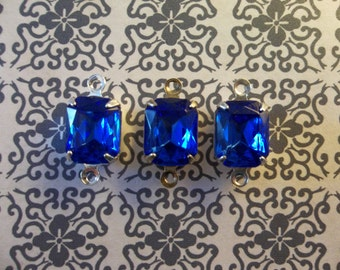 Sapphire Blue Czech Glass Octagon Gems in 10mm X 8mm Prong Settings Jewel Drops - Your Color Choice Metal Setting - Qty 2