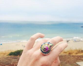Titanium Rainbow Aura Ammonite Shell Sterling Silve Ring - Size 7 LAST ONE