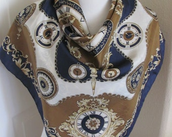 """Basha // Beautiful Blue Brown Gold Silk Scarf  // 31"""" Inch 78cm Square // Best of the Best"""