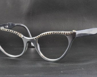 Vintage Cat Eye Glasses, J Hasday, Aluminum with Rhinestone Brow, 1960s, 1950s