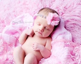 Pink Rhinestone Headband, Baby Girl Headband, Newborn Photo Prop, Baby Girl Photoprop, Photography Prop, Headband