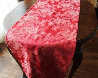 Vintage Curtain Panel Fabric Silky Damask Fabric