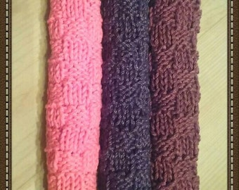 Handknit Basketweave Fall Dishcloth Trio