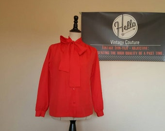 Vintage 70s Bright Red Bow Blouse! B-E-A-utiful!!